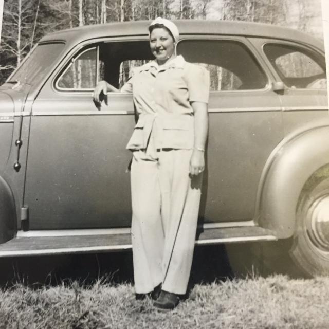 Aunt Evelyn & old car